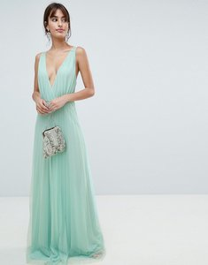 Read more about Asos design pleated tulle maxi dress with lace back - mint