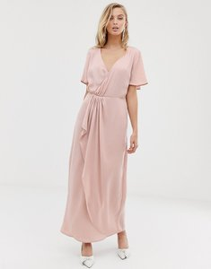 Read more about Vila wrap maxi dress with pleat detail
