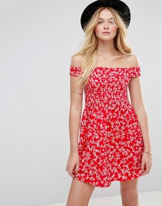 Read more about Asos shirred off shoulder mini sundress in red floral print - multi