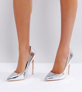 Read more about Lost ink true silver sweetheart cut out court shoes - silver metallic