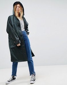 Read more about Asos slouchy satin parka with borg lining - teal