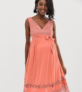 Read more about Little mistress maternity contrast lace full prom midi skater dress in coral