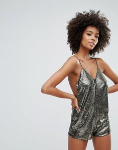 Read more about Motel corsica playsuit in gold stripe sequins - mini gold sequin str