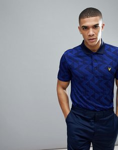 Read more about Lyle scott golf etive all over check tech polo shirt in navy - navy cobalt