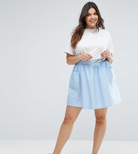 Read more about Asos curve mini skater skirt in cotton poplin with pockets - cashmere blue