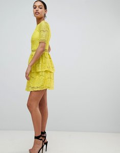 Read more about Missguided lace layered mini dress - yellow