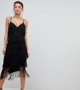 Read more about Asos tall fringe lace plunge bodycon midi dress - black