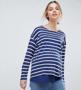 Read more about Asos design maternity nursing long sleeve top with double layer in navy stripe - white navy