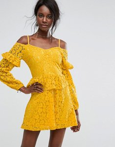 Read more about Missguided cold shoulder ruffle lace dress - yellow