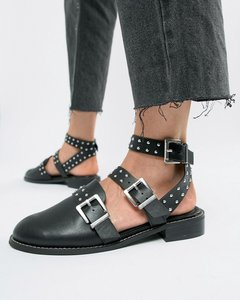 Read more about Asos design mews studded flat shoes - black