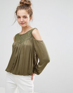 Read more about B young lace insert cold shoulder blouse - jungle green
