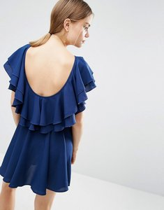 Read more about Asos soft ruffle low back skater mini dress - blue