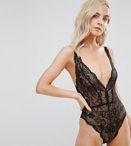 Read more about Asos design petite blair high leg lace body with lace up back - black