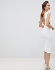 Read more about Asos design button back plunge midi dress - ivory