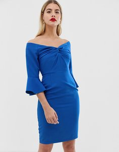 Read more about Paper dolls sweetheart midi bodycon dress with knot front in cobalt