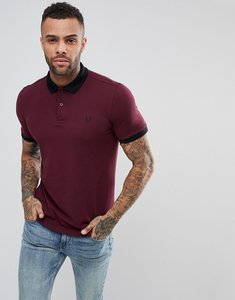 Read more about Fred perry slim fit matt tipped pique polo shirt in burgundy - 799