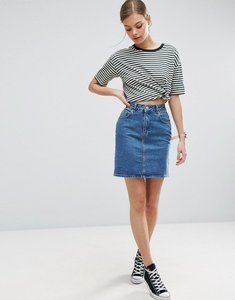 Read more about Asos design denim original high waisted skirt in midwash blue - mid wash blue