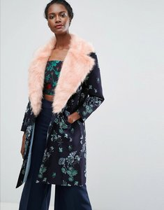 Read more about Endless rose jacquard coat with contrast faux fur - dark navy combo