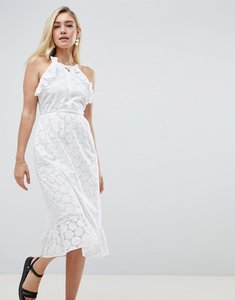 Read more about Asos design broderie midi dress with open back - white