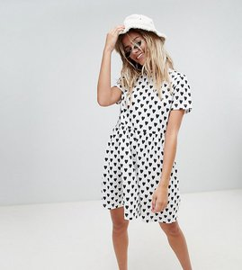 Read more about Daisy street smock dress in heart spot print - white and black