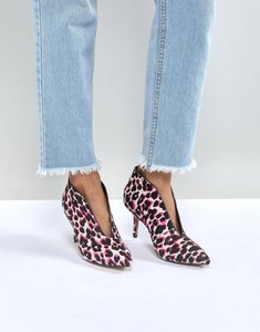 Read more about Asos reeta leather heeled shoe boots - pink leopard leather