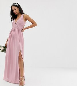 Read more about Tfnc bridesmaid exclusive pleated maxi dress with back detail in pink