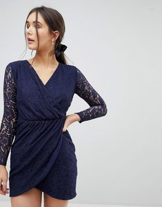 Read more about Qed london lace wrap front dress - navy
