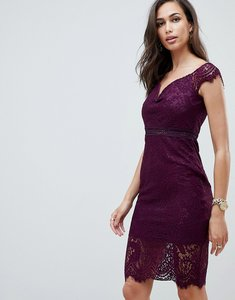 Read more about Girl in mind off the shoulder lace dress - plum