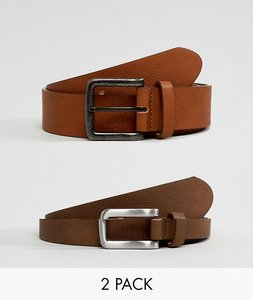 Read more about Asos design 2 pack faux leather wide belt in tan and brown save - multi