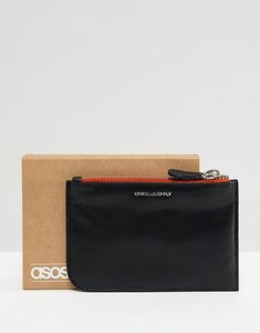 Read more about Asos design leather zip top wallet in black with contrast orange trim - black