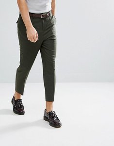 Read more about Asos tapered smart trousers in khaki wool mix - dark green