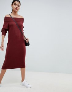 Read more about Asos design knit dress in off shoulder midi shape - dark red