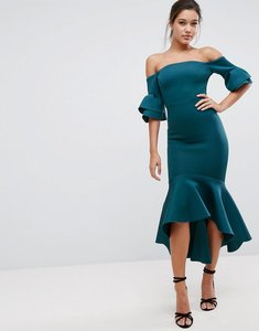 Read more about Asos premium bardot bodycon pephem midi dress - teal