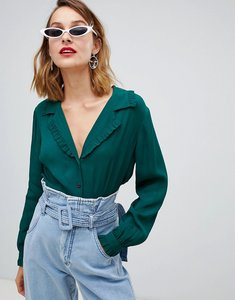 5025612c86f36 Read more about Asos design waisted tea blouse with collar detail - moss  green