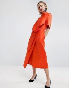Read more about Asos white satin tuck detail midi dress - red