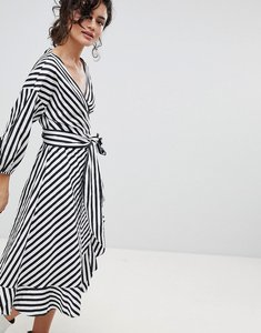Read more about Gestuz stripe wrap dress with frill detail - dark blue white