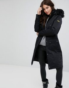 Read more about Barbour international waterproof parka coat with vinyl trim and faux fur detachable hood - black