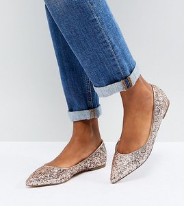 Read more about Asos latch pointed ballet flats - rose gold glitter