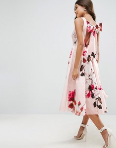 Read more about Asos bow back midi prom dress in floral print - print