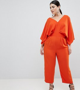 Read more about Asos design curve jumpsuit with kimono sleeve and peg leg - pumpkin