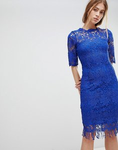 Read more about Paper dolls high neck crochet dress with short sleeves - blue