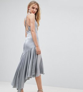 Read more about Jarlo tall drop hem pleated midi dress with cross back detail - pale blue