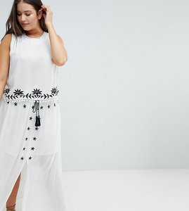 Read more about Glamorous curve embroidered skirt with tassle ties co-ord - white