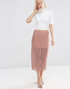 Read more about Asos pleated skirt in sheer mesh - nude