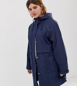 Read more about Asos design curve raincoat with brushed check lining