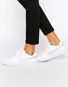 Read more about Nike court royale trainers in white and silver - white silver