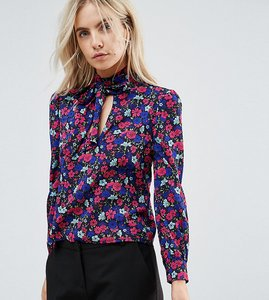 Read more about Parisian petite floral printed blouse with tie neck - navy