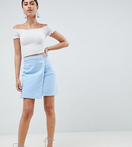 Read more about Prettylittlething wrap denim skirt - baby blue