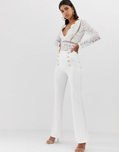 Read more about Club l london button detail wide leg trouser in white