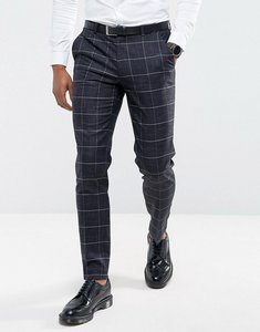 Read more about Asos wedding super skinny suit trousers in navy windowpane check with nepp - navy